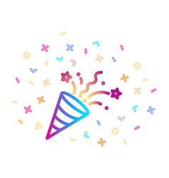confetti party popper linear colorful icon vector image