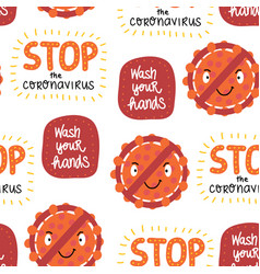 corona virus letterings and icons seamless vector image