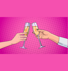 couple hands clinking glass of champagne wine vector image