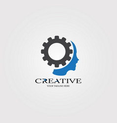 Creative mind with gear icon templates logo vector