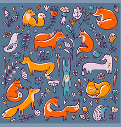 Cute background with foxes and floral elements vector