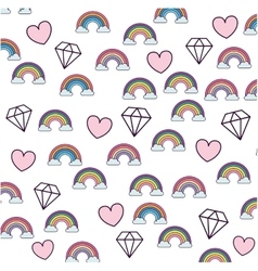 Cute rainbown fantasy pattern vector
