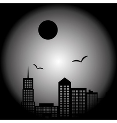 Dark city landscape in night with birds and moon vector