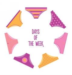 Days of the week woman panties set vector