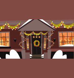 decorated house front door with wreath winter vector image