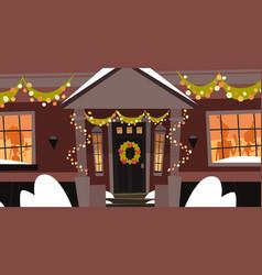 Decorated house front door with wreath winter vector