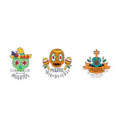 dia de los muertos logo design set mexican day of vector image