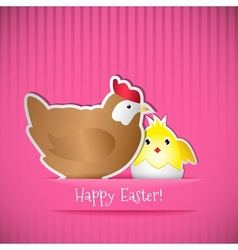 Easter card with chicken and chick vector image