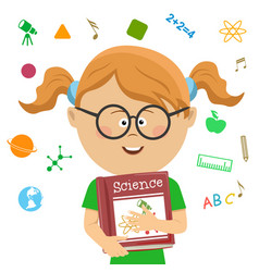 elementary school girl holding science book vector image