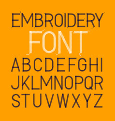 Embroidery font thin typeface vector