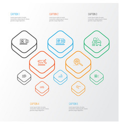 Engine icons line style set with target keyword vector