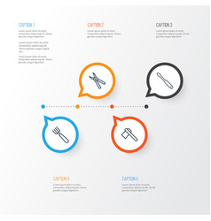 Equipment icons set collection of tomahawk turn vector