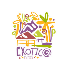Exotic summer vacation colorful travel logo vector
