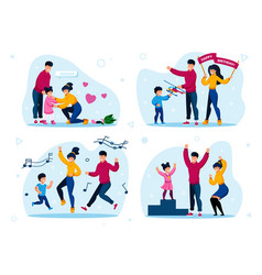 family happy relationships flat concept set vector image