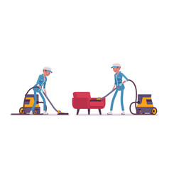 Female janitor vacuum cleaning indoors vector