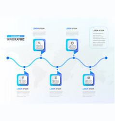 five steps workflow timeline elements business vector image