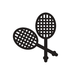 Flat icon in black and white style tennis rocket vector