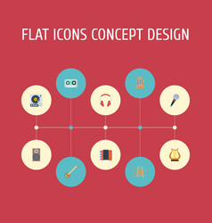 Flat icons lyre turntable audio box and other vector