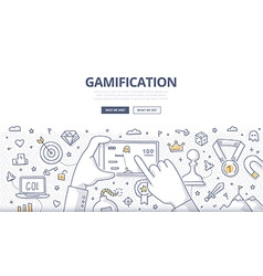 Gamification Doodle Concept vector