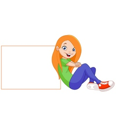 Girl with sign vector