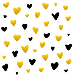 Gold black hearts handdrawn seamless pattern vector