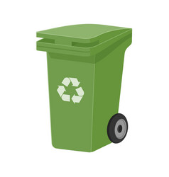 Green recycle waste bin flat vector