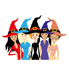 group of women in witch hats vector image