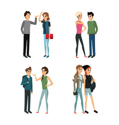 group people young talking vector image