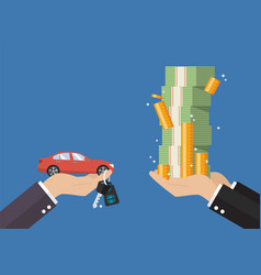 Hand gives car and keys to other hand with money vector
