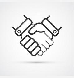 handshake partnership business flat line trendy vector image