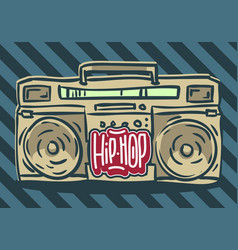 hip hop design with a hand drawn boombox ghetto vector image