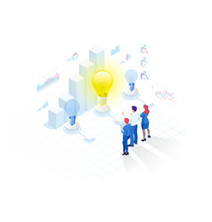 isometric concept idea business meeting and vector image
