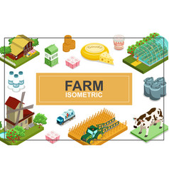 isometric farming colorful concept vector image