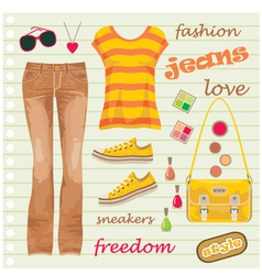 Jeans fashion set vector image vector image