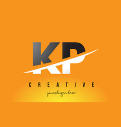Kp k p letter modern logo design with yellow vector
