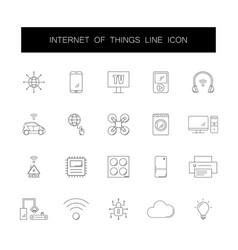 line icons set internet of things pack vector image