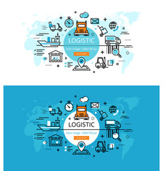 Logistic flat line color hero images and hero vector
