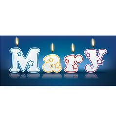 MARY written with burning candles vector image
