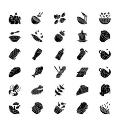 Menu dishes glyph icons set salads first meal vector