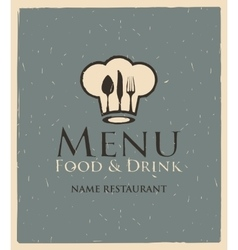 menu with toque and cutlery vector image