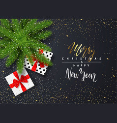 merry christmas ans happy new year poster with vector image