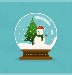 Merry christmas glass ball with snowman and tree vector