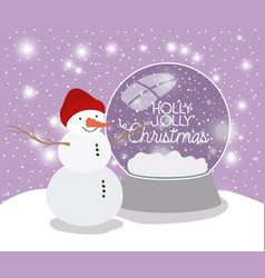 mery christmas card with snowman and sphere vector image