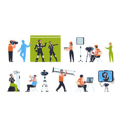 Movie production film making scenes with actors vector