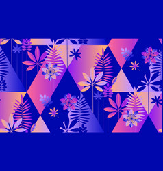 Neon tropical foliage and florals seamless pattern vector