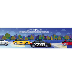 night traffic on road with taxi and police cars vector image