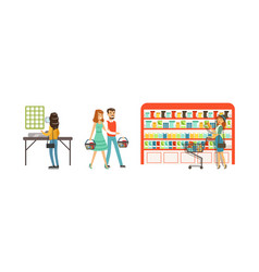 People characters in supermarket with shopping vector