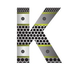 Perforated metal letter K vector