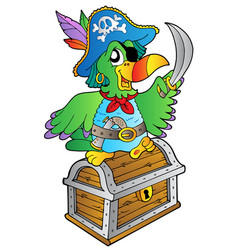 Pirate parrot on treasure chest vector