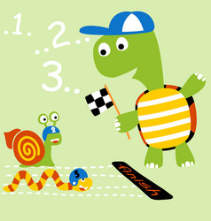 Racing competitions with funny animals cartoon vector